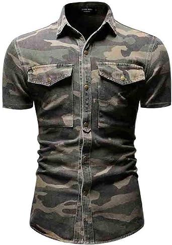 Idopy Camisa Vaquera de Manga Corta con Botones de Camuflaje para Hombre Top
