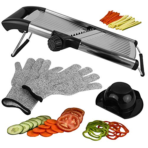 Mandoline Slicer Vegetable Potato Slicer, Julienne Slicer, Onion Cutter, With Stainless Steel Adjustable Blade. Cut Resistant Gloves Included.