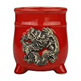 3-Inch Red Ceramic Planter Pot Dragon Vase for Lucky Bamboo, Flowers, Succulents and Small Indoor Plants