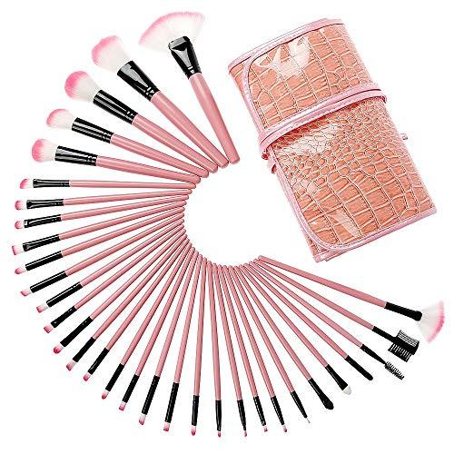 Juego De Brochas De Maquillaje Durable 32 suave de fibra de pelo portátil maquillaje cepillos del patrón del cocodrilo Herramientas Pincel Bolsa de belleza profesional. Adecuado Para Maquillaje De Pri