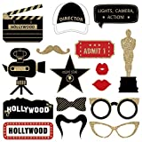 Fully Assembled Hollywood Photo Booth Props - Set of 30 - Black Gold Red Selfie Signs - Movie Night Themed Party Supplies & Decorations - Cute Oscars Designs with Real Glitter - Did we mention no DIY?