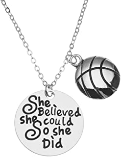 Sportybella Basketball Necklace, Basketball She Believed She Could So She Did Jewelry, Basketball Gifts, Basketball Charm Necklace, for Female Basketball Players
