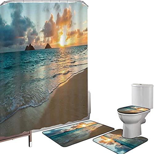 Juego de cortinas baño Accesorios baño alfombras hawaiano Alfombrilla baño Alfombra contorno...