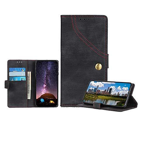 TANYO Hülle Geeignet für Oppo Reno2/Reno2 5G, Premium Flip Denim Lederhülle Schutzhülle Kartensteckplätzen Ständer Tasche Wallet Handyhülle, Schwarz