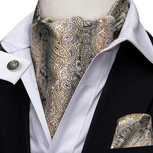 ZorYer Krawattenschal Krawatte Paisley Krawatte für Männer Pocket Square Manschettenknöpfe und Ascot Schal Krawatte Herren Casual Ascot Krawatte Krawatte Set S508-C