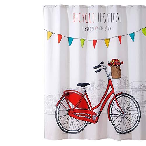 unknow Lionmer Fahrrad Duschvorhang wasserdichte Polyester Stoff Bad Gardinen Sets für Badezimmer Bad