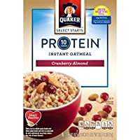 Quaker Protein Cranberry Almond Instant Oatmeal クエーカークランベリーアーモンドインスタントオートミール 372g(62g x 6袋) [並行輸入品]
