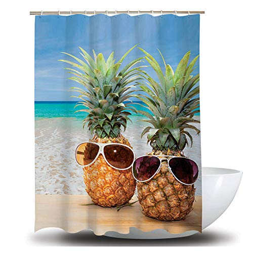 AOMEISI Duschvorhang, Hochwertige Polyester-StoffvorhäNge, Schimmelresistenter Vorhang, Wasserdichter Badezimmervorhang, Zwei Ananas, 180x200
