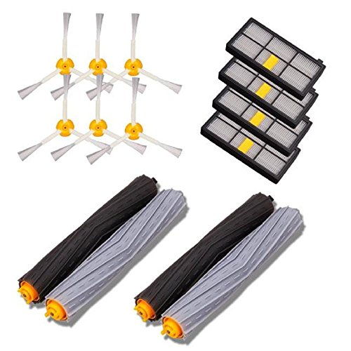 4 x Hepa Filter + 6 x 3-Armige Seitenbürste + 2-set verwicklungsfreier Debris Extractor, Replacement Kits For iRobot Roomba 800/900 Series Vacuum Cleaning Robots, Staubsauger Zubehör