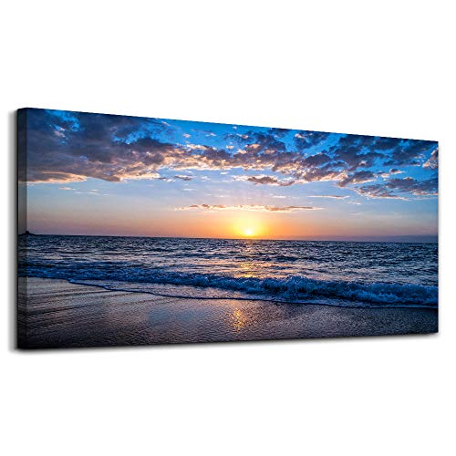 Price comparison product image hyidecor art Wall Art Moon Sea blue Ocean Landscape Paintings Bedroom Canvas Art Print wall art for living room Paintings for Wall Decor and Home Decor (20 x 40inch x 1pcs )