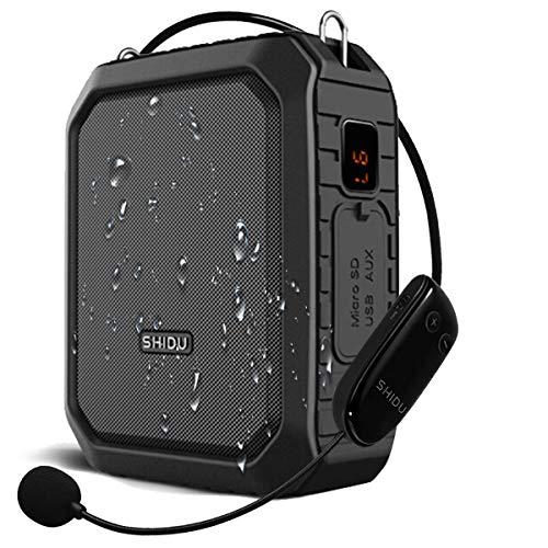 SHIDU Wireless Sprachverstärker Bluetooth Lautsprecher 18W Wasserdichtes tragbares PA-System mit UHF Wireless Mikrofon Headset Wiederaufladbares Voice Mikrofon für den Außenbereich im Klassenzimmer