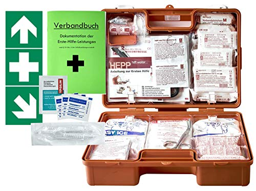 Erste-Hilfe-Koffer M6 PLUS DIN/EN 13169 -Paket 1- für Betriebe ab 50 Mitarbeiter inkl. Verbandbuch & 3 FOLIENAUFKLEBER