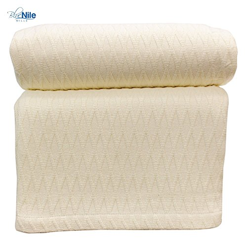 Diamond Twin/Twin XL Cotton Throw Blanket, Breathable Thermal Bed/Sofa Blanket Couch, Snuggle in These Super Soft Cozy Cotton Blankets - Perfect for Layering Any Bed, Ivory