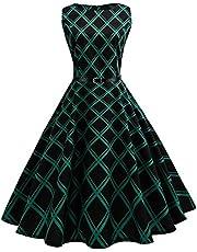 VEMOW elegancka sukienka w stylu vintage, bez rękawów, na wieczorne przyjęcie, do tańca, plisowana sukienka w stylu retro