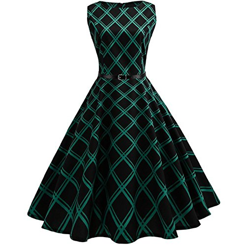 VEMOW Heißer Elegante Damen Mädchen Frauen Vintage Bodycon Sleeveless Beiläufige Abendgesellschaft Tanz Prom Swing Plissee Retro Kleider(X2-Grün, 40 DE/XL CN)