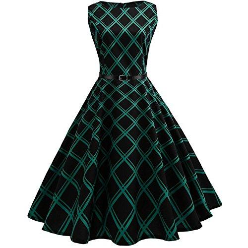 VEMOW Heißer Elegante Damen Mädchen Frauen Vintage Bodycon Sleeveless Beiläufige Abendgesellschaft Tanz Prom Swing Plissee Retro Kleider(X2-Grün, 42 DE/XXL CN)