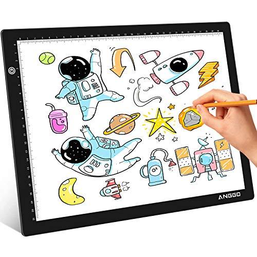 ANGGO Mesa de Luz, Mesa de Luz A4 LED Tableta de Dibujo, Mesa de Luz para Dibujo Super Delgado y Brillo Ajustable, Tracing Pad con Cable USB para Artistas, Animación, Bocetos, Diseño, Tatoo