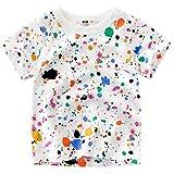 Oyoden Camisetas Manga Corta Niño Dibujos Animados Tops Bebé Verano Algodón Blusa 1-7 Años(3-4 años, Multicolor)