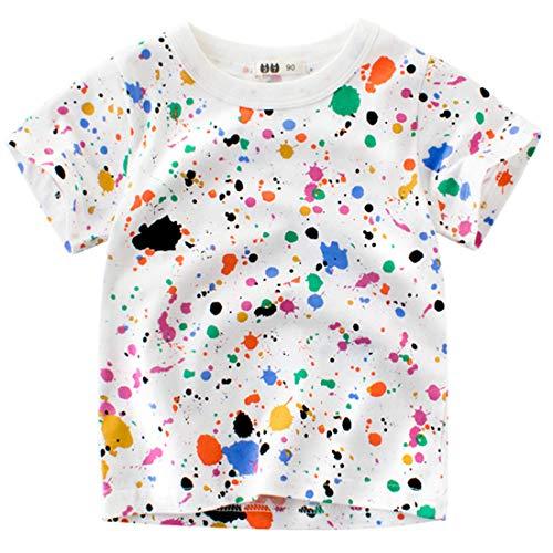 Oyoden Camisetas Manga Corta Niño Dibujos Animados Tops Bebé Verano Algodón Blusa 1-7 Años(1-2 años, Multicolor)