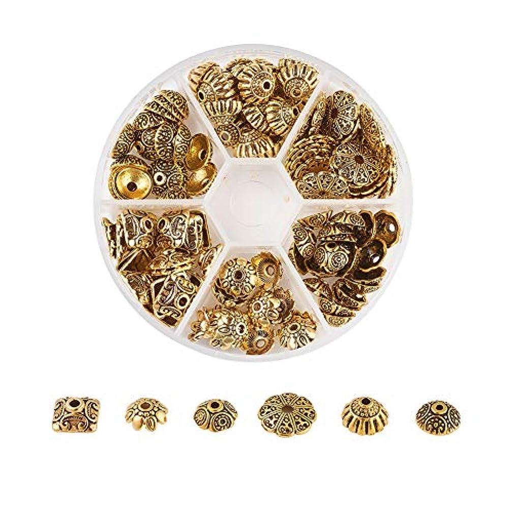 Pandahall 120pcs/box Tibetan Flower Spacer Beads Caps Antique Golden 6 Style Metal End Caps for Bracelet Earring Jewelry Making