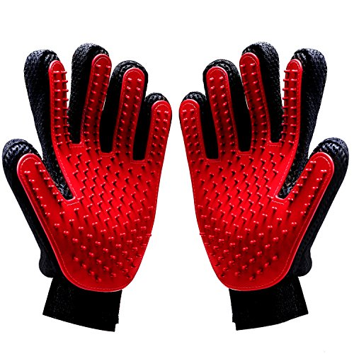 Pet Grooming Glove/Deshedding Brush – Pack of Two Gloves –Effective Cat and Dog Hair Remover– Excellent Tool Kit for Grooming and Gentle Massage - Pair