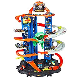 Hot Wheels City Robo T-Rex Ultimate Garage Multi-Level Multi-Play Mode Stores 100 Plus 1:64 Scale Cars Gift idea for Kids 3 and Older