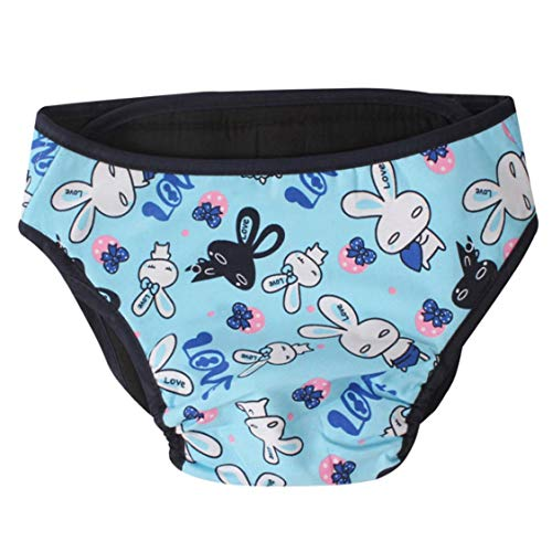VIGE Baumwolle Wiederverwendbare Haustiere Hunde Windeln waschbar Soild Farbe atmungsaktive Windeln Haustier Hund Hose stilvolle Windel Windel - blau Kaninchen - S