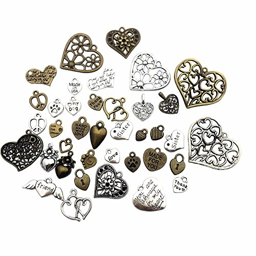 100g (about 70pcs) Craft Supplies Antique Bronze Antique Silver Heart Valentine Wedding Charms Pendants for Crafting, Jewelry Findings Making Accessory For DIY Necklace Bracelet (Heart Charms)