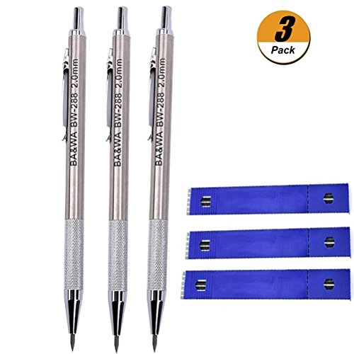 WarmShine 3 Pieces 2.0 mm Lead Holder Metal Mechanical Pencil Automatic Mechanical Drafting Pencil for Draft Drawing,Carpenter,Crafting, Art Sketching + 36 Leads