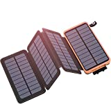 Hiluckey Solar Charger 25000mAh, Solar Power Bank with 4 Panels Portable Battery Pack