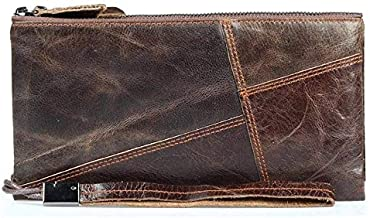Men's head layer oil wax leather hand bag, business wallet, multiple card position wallet, size 20cmx2.5cmx10.5cm