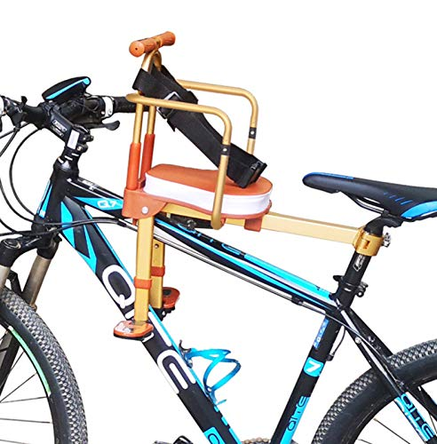 Silla Bicicleta Para Niños,Plegable Asiento Infantil Para Bicicleta,Asiento Delantero De Seguridad Para Niños, Brown