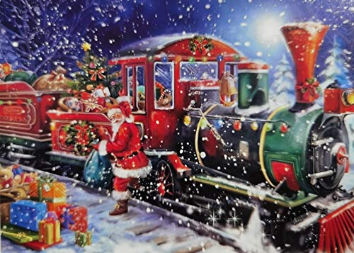The Christmas Train 1000 Piece Jigsaw Puzzle, Winter Holiday Jigsaws Puzzles Game Xmas Gifts for Adults Kids