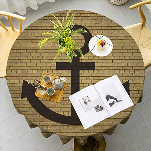 JKTOWN Anchor Kitchen Table Tablecloth Spring Dining Room And Kitchen Decorative 35 inch Digital Anchor Icon Over Brick Wall Vintage Vessel Part Hook Up The Boat Theme Tortilla Brown