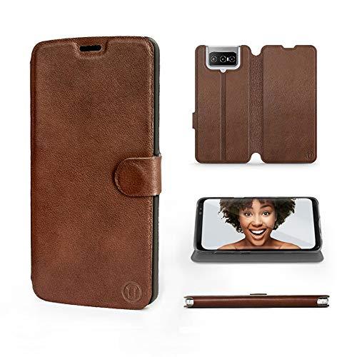 Mobiwear | Echt Lederhülle | Kompatibel mit Asus Zenfone 7 Pro, Made in EU handyhülle, Slim Leather Hülle, Premium Flip Schutzhülle, Transparent TPU Silicon, Book Style, Tasche - Braunes Leder