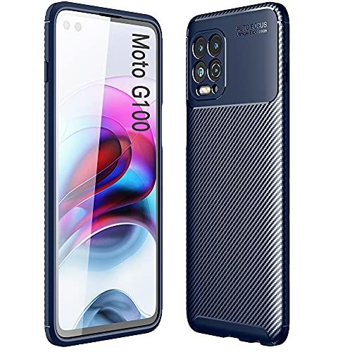ALAMO Ultra Silicone Hülle für Motorola Moto G100, Kohle Faser StoßFest Bumper Handyhülle - Blau