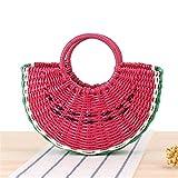 Moda 1PCS sandía Playa en Forma de Fruta Bolsa ABS Bolso Tejido Paja de Madera Bolso de Las señoras Bolsa de Paja Redondo Luna en Forma de Bolsa Durable (Color : Red)