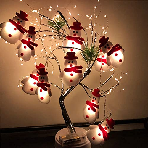 LED Kerstmissneeuwman Lichte Snaren Voor Kerstboom Vakantie Partij Decoratie Hanger Lantaarn, 1.65M 10 Lichtbatterijen…