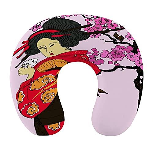 CIKYOWAY Almohada Viaje,Japón Geisha Woman,Espuma de Memoria cojín de Cuello,Almohadas de Acampada,Soporte de Cuello para Viaje Coche