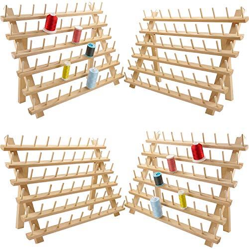 New brothread 4x60 Carretes Organizador de hilo de madera/estante de hilo con ganchos para colgar para bordar, acolchar y coser hilos
