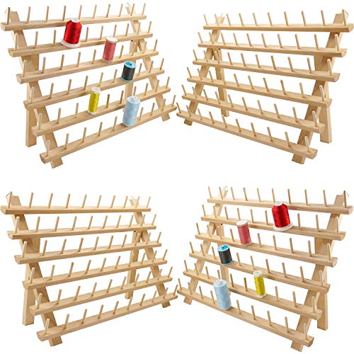 New brothread 4x60 Spools Wooden Thread Rack/Thread Holder Organizer with Hanging Hooks for Sewing, Quilting, Embroidery, Hair-braiding