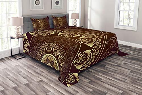 ABAKUHAUS Mandala Tagesdecke Set, Weinlese-ethnischer Asiat, Set mit Kissenbezügen Sommerdecke, für Doppelbetten 264 x 220 cm, Bordeauxrot Gelb