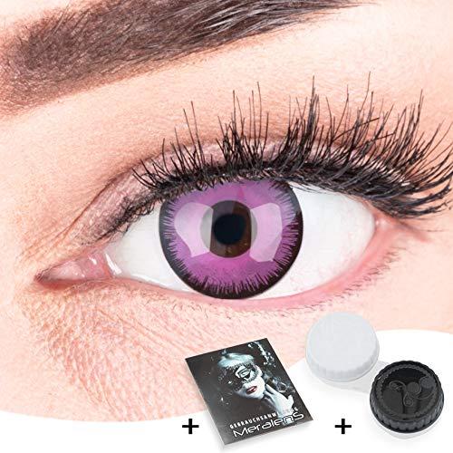 Farbige Kontaktlinsen zu Fasching Karneval Halloween 1 Paar Crazy Fun lila 'Violet Lunatic' mit Behälter in Topqualität von 'Glamlens' ohne Stärke