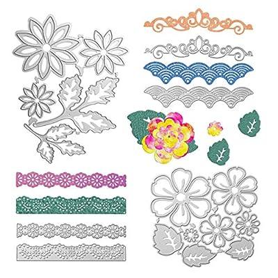 Flower Metal Cutting Dies, 3D Flower Leaves Metal Lace Die Cuts Handmade DIY Stencils Template Embossing for Scrapbooking Photo Album Card Paper Embossing Craft DIY