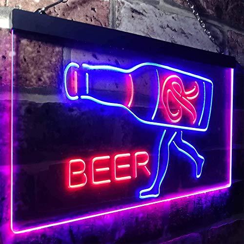 zusme Rainier Beer Garage Man Cave Bar Neuheit LED Neon Schild Blue + Red W60cm x H40cm