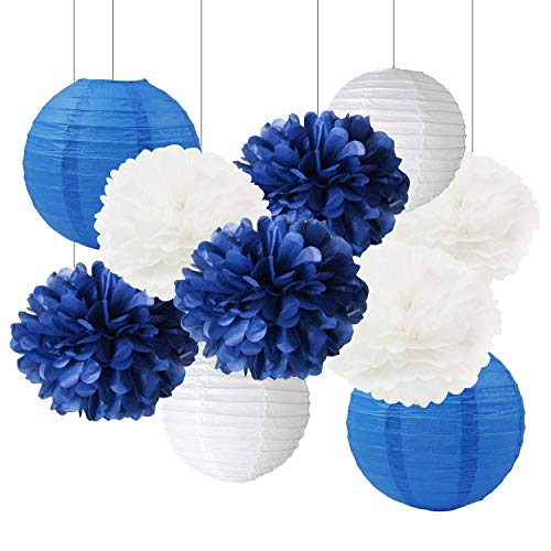 Furuix White Navy Blue 10inch Tissue Paper Pom Pom Paper Lanterns Mixed Package for Navy Blue Themed Party Wedding Paper Garland, Bridal Shower Decor Baby Shower Decoration