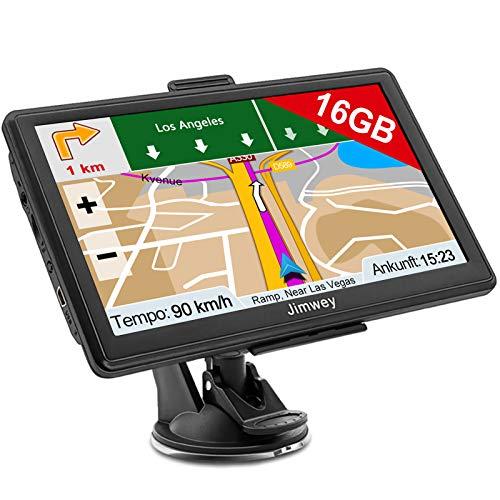 Jimwey Navigationsgerät für Auto Navigation LKW Navi Navigationssystem 7 Zoll 16GB Lebenslang Kostenloses Kartenupdate mit POI Blitzerwarnung Sprachführung Fahrspurassistent 52 Europa UK 2020 Karte