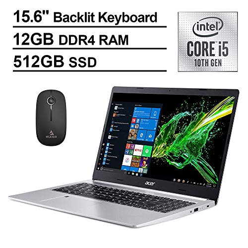2020 Newest Acer Aspire 5 15.6 Inch FHD 1080P Laptop, Intel Core i5-10210U (Beats i7-7500U), 12GB RAM, 512GB SSD, Backlit KB, FP Reader, Windows 10 + NexiGo Wireless Mouse Bundle