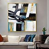 yaonuli Pintura al óleo geométrica Abstracta sobre Lienzo. Arte de Pared Moderno para Pintura de decoración del hogar. Arte de Cartel Simple. Cuadro sin Marco 30x30cm