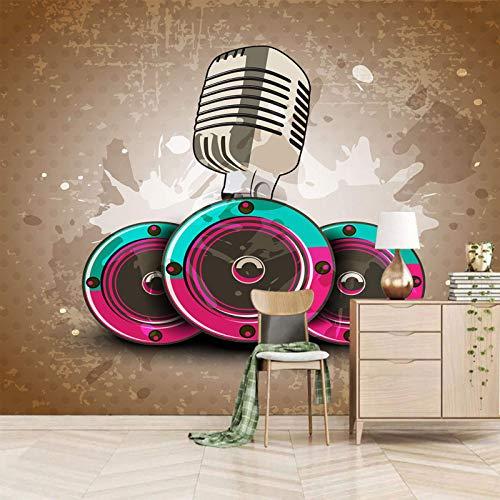 wandgemälde xxl 400x280cm Musik Mikrofon Lautsprecher Wallpaper 3d wandbild SelbstklebendWandgemälde Abnehmbaren Wandsticker Kunst Aufkleber Wandtattoo Dekorateur Wohnung Wohnzimmer Schlafzimmer Bad K